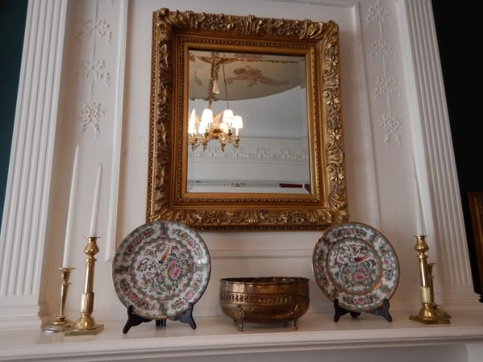 MIRRORS, PORCELAIN AND CANLESTICKS