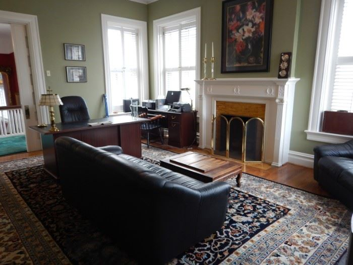 OFFICE LEATHER SOFAS, RUG, DESK, FILE CABINET, OFFICE EQUIPMENT, FIREPLACE SCREEN