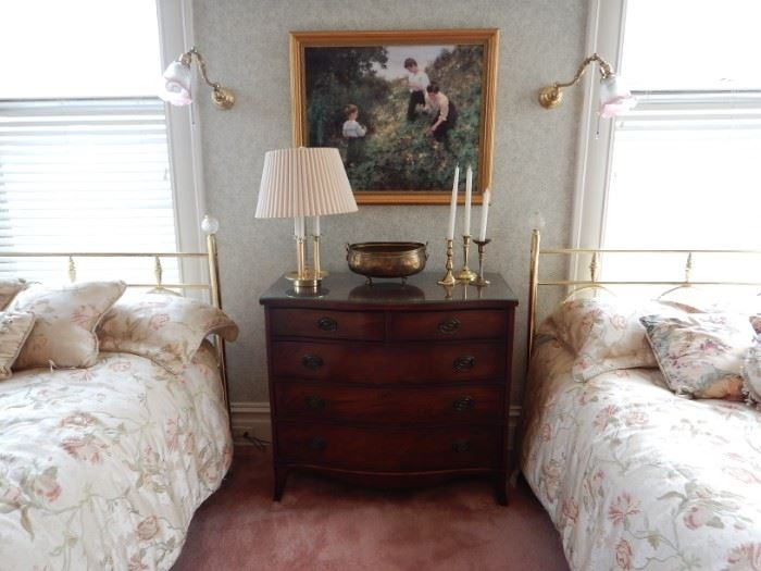 CHESTS, LAMPS, CANDLESTICKS, PRINTS