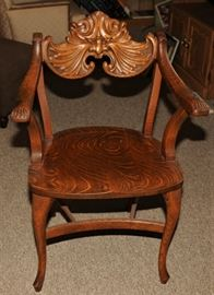 RARE: Quarter-sawn Oak Carved Man of the North Chair