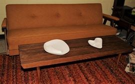 MID-CENTURY SOFA-SLEEPER & SLAT BENCH & ROYAL HAGER  ASH TRAYS