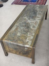 PHILIP AND KELVIN LAVERNE MID CENTURY MODERN BRONZE COFFEE TABLE WITH CHINESE MOTIF