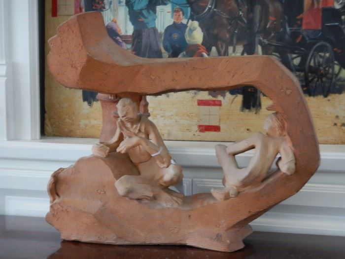 """NEWELL HILLS ARNOLD 1906-1988 """"ATOMIC AGE"""" SCULPTURE ACCOMPANIED BY PHOTOGRAPHS OF ARTIST IN STUDIO SHOWING SCULPTURE"""
