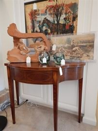 BAKER CONSOLE TABLE WITH STRING INLAY AND BELLFLOWER INLAY ON LEGS