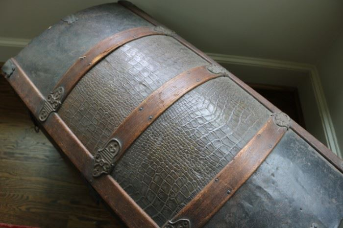 Antique Dome Steamer Faux Alligator Trunk