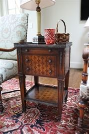 Parquetry Occasional Table with Brass Gallery