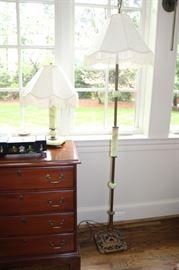 Art Deco Green Marble Floor Lamp