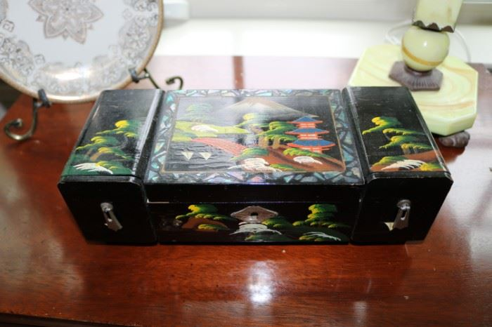 Vintage Japanese Painted Jewelry Box