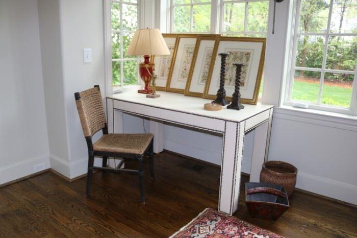 White Nailhead Table or desk
