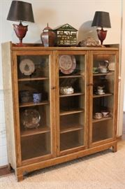 Antique Oak Bookcase  Display Curio Cabinet