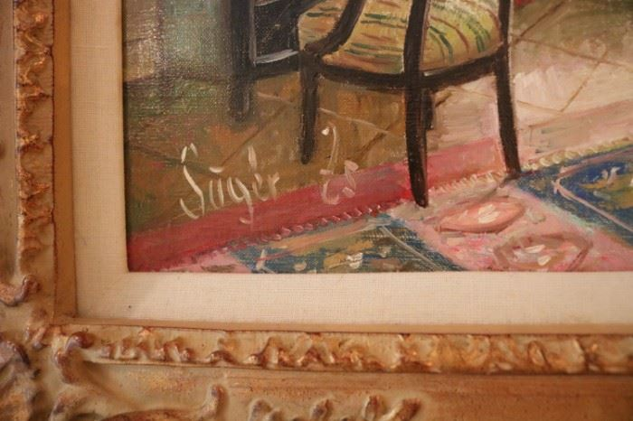 Zsuzsanna Suger (Hungarian, b.1939), Interior Scene, Oil on Canvas,
