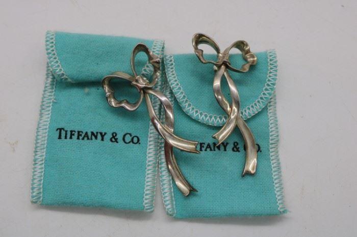 Tiffany & Co Sterling Silver Bow Earrings