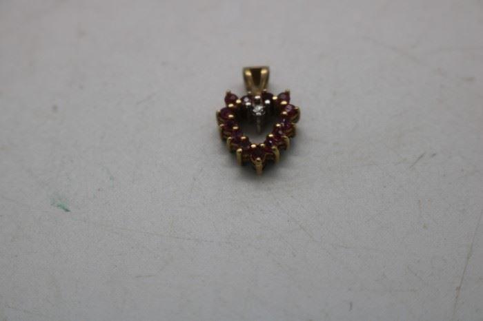 14k Ruby &  Emerald Heart Pendant