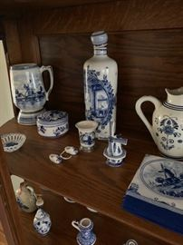 Large collection of Delft pottery.