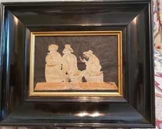 Antique Asian pin art in antique frame