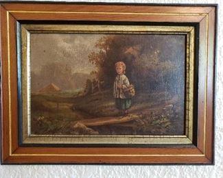 Antique oil painting of child on bridge