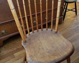 There are 10 antique Windsor chairs all similar to this one
