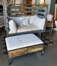 Factory Cart Sofa * Pillows made from Vintage Ticking   2 Crate Ottoman