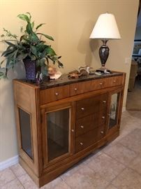 Server/credenza w/Natural Stone Solid Surface Top & Glass-Front Doors