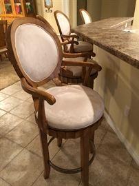 Wood, swivel bar stools w/microfiber seats/set of 4