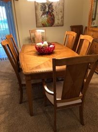 Light Maple Dining Set Including Dining Table & 6 chairs
