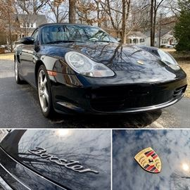The Porsche will be available for PRESALE on starting Monday March 25th!  The car is a 2004 Porsche Boxster Cabriolet.  It is black, with a black top, and black interior.  It has approximately 49,000 miles.   It is serviced by Porsche St. Louis.  https://www.porschestlouis.com It has a 6-Cylinder, 2.7Liter engine; manual 5-Speed transmission; 4-Wheel ABS brakes, power steering, telescoping steering wheel, AM/FM Single CD stereo; AC, power top; power door locks, power windows, heated seats; dual airbags; side airbags; alloy wheels; the toolkit that came with the car; spare tire.