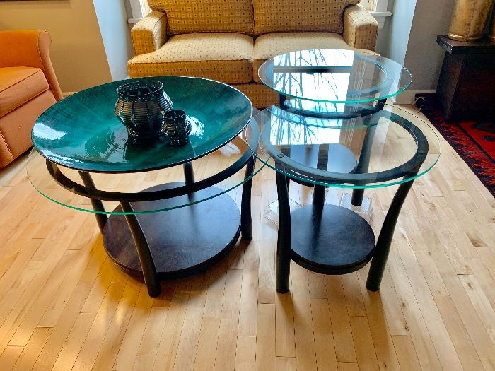 Set of 3; coffee table and two end tables. (We have the back table lifted so you can better see it in the image)