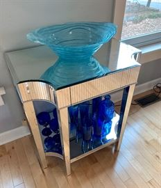 Mirrored side table with small drawer