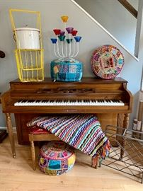 Upright piano, Pier 1 foot stool/poofs, fantastic afghan, vintage ball retriever