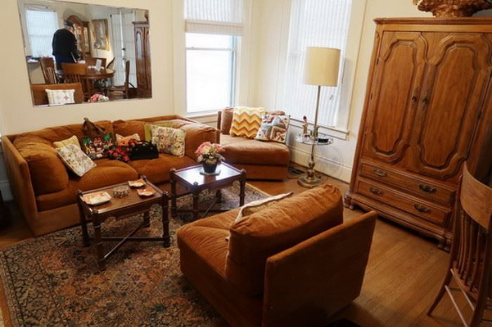 Rust colored MidCentury sectional sofa or love seat and chairs