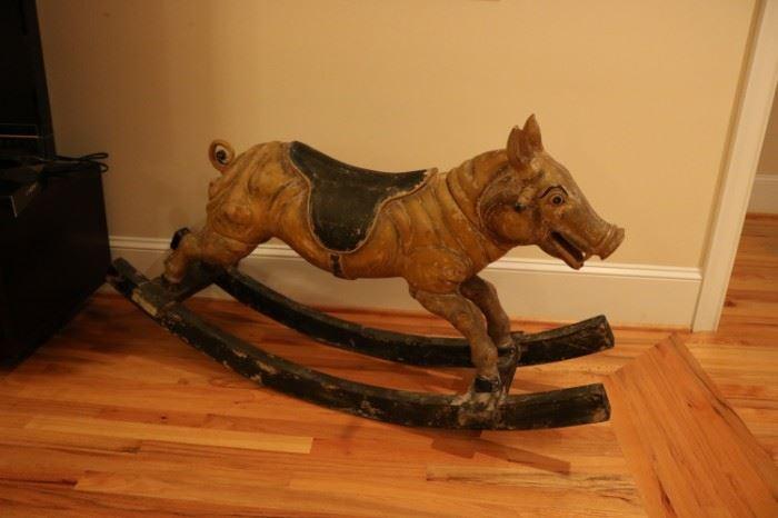 Antique Carved Pig Rocker