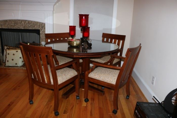 Ethan Allen Game Table with 4 rolling Chairs