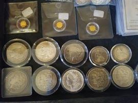 MORGAN AND PEACE DOLLARS. GOLD COINS