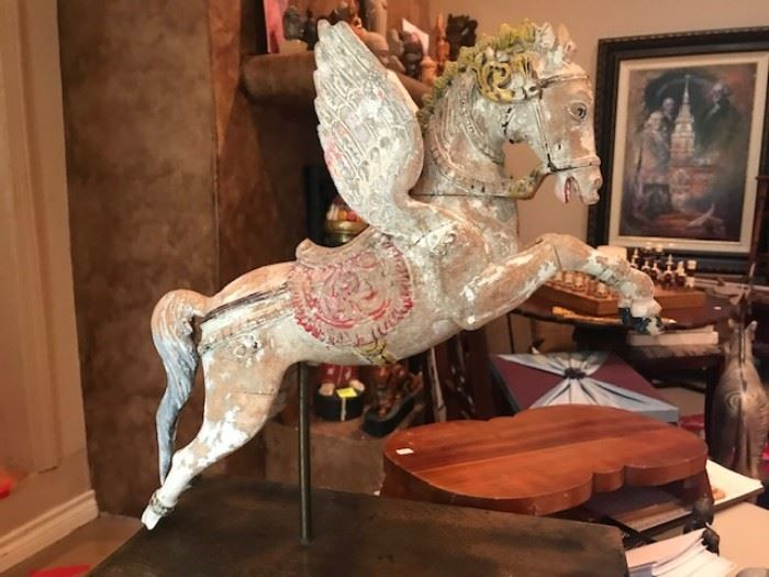 Antique Cambodian carved wood horse