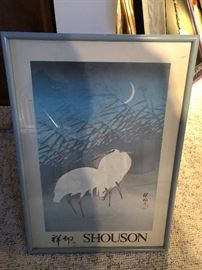Ohara Shoson Egrets in Reeds Poster of Exhibit Japanese Wood Block Print/poster