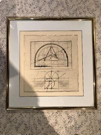Architectural drawings. Etchings on handmade paper