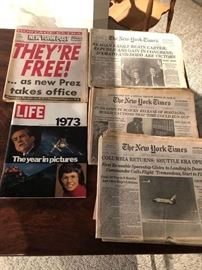 New york post and New York Time Political and Historical Headlines News papers