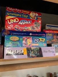 Fisher Price Scrambled Eggs, Uno Attack, Noodle Kidoodle, Little Mermaid My Size Puzzle, Fisher Price Go Fish