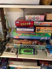 Game Boy, Sorry, Scene it, Carmen Sandiego, Cadoo, Mastermind, Racko, memory game, Ello Fairytopia, Magnetic Darts, Storybook Princess Pop up 3-D game, Quadular