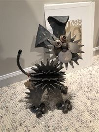 Yard Birds Metal dog sculpture