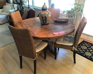 Made in Sante Fe New Mexico pine table with 4 wicker chairs (priced separately)