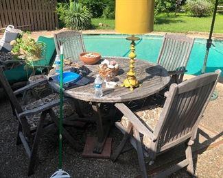Solid teak patio set