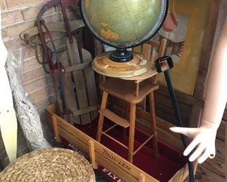 Red flyer wagon, globe, high chair