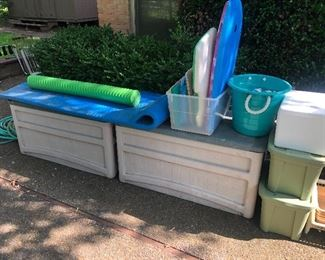 Rubbermaid pool boxes and pool floats