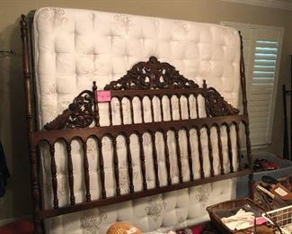 King carved headboard from Sante Fe New Mexico and nice King mattress/boxspring/frame