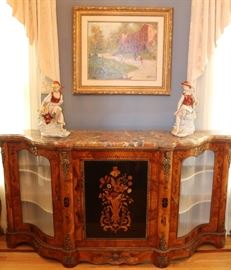 Marquetry Sideboard with Marble Top, Original Artwork