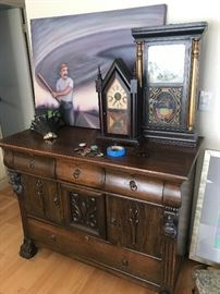 Old mantle clocks, original artwork & wood buffet