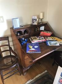 Drop front wood desk and accessories