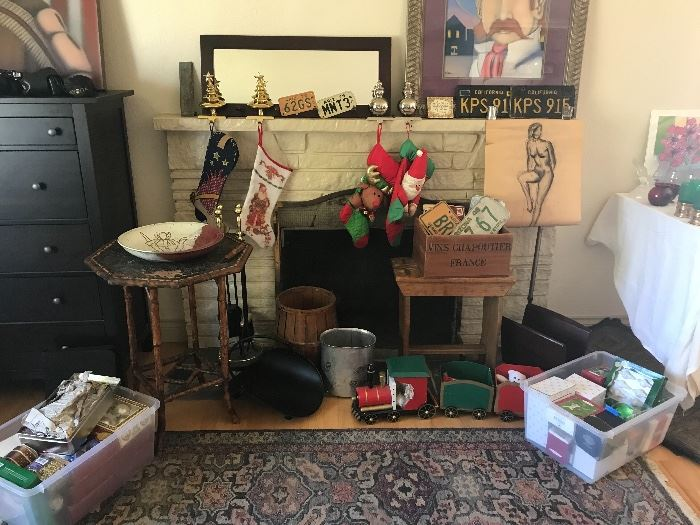 Christmas, area rugs, license plates, and other art & collectibles