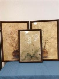 3 Neutral Beige Floral Wall Art Set